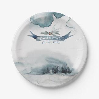 Prato De Papel Placa de papel do país das maravilhas do inverno