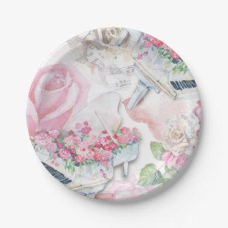 Prato De Papel Placa de papel do piano de cauda cor-de-rosa