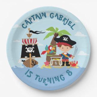 Prato De Papel Placa de papel do pirata bonito do menino