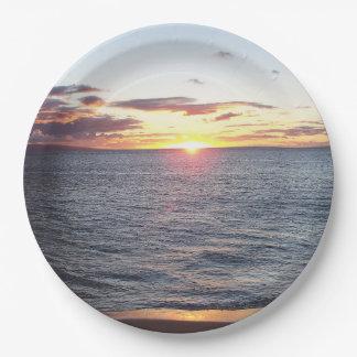 Prato De Papel Placa de papel do por do sol de Maui
