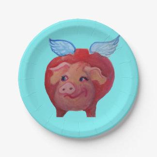 Prato De Papel placa de papel do porco do vôo