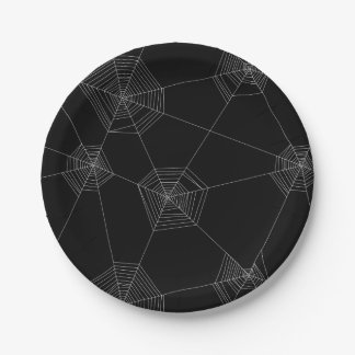 Prato De Papel Placa de papel do preto das Web de aranha