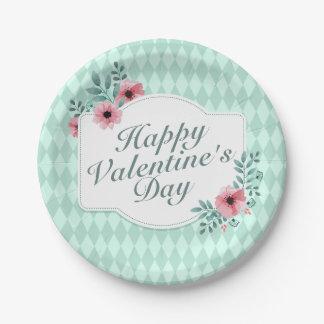 Prato De Papel Placa de papel do quadro floral elegante do dia