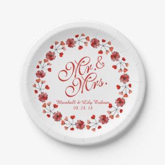 Prato De Papel Placa de papel do Sr. & da Sra. Elegante Floral