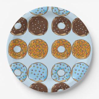 Prato De Papel Placa de papel do teste padrão azul bonito das