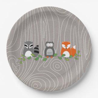 Prato De Papel Placa de papel dos animais da floresta da floresta