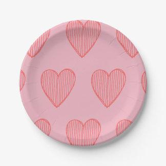 Prato De Papel Placa de papel dos corações cor-de-rosa