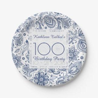 Prato De Papel Placa de papel festa de aniversário azul do
