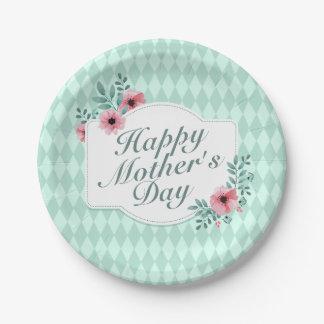 Prato De Papel Placa de papel floral do dia das mães feliz