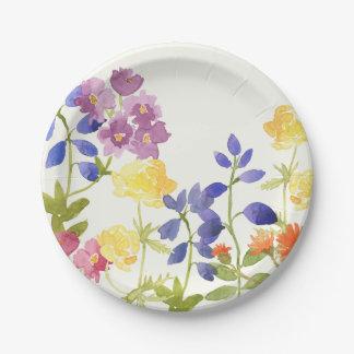 Prato De Papel Placa de papel floral do Watercolour colorido do