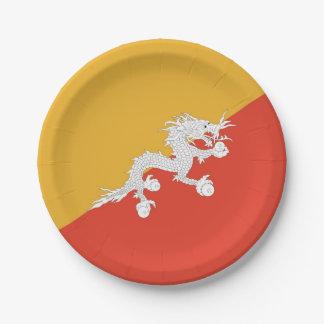 Prato De Papel Placa de papel patriótica com a bandeira de Bhutan