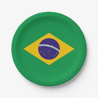 Prato De Papel Placa de papel patriótica com a bandeira de Brasil