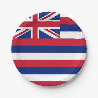 Prato De Papel Placa de papel patriótica com a bandeira de Havaí