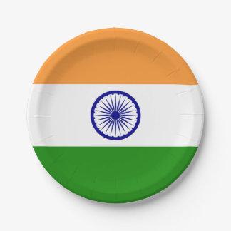 Prato De Papel Placa de papel patriótica com a bandeira de India