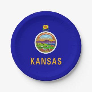 Prato De Papel Placa de papel patriótica com a bandeira de Kansas