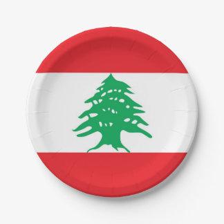 Prato De Papel Placa de papel patriótica com a bandeira de Líbano