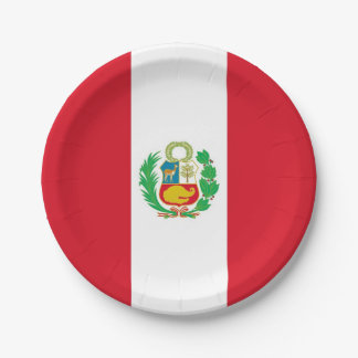 Prato De Papel Placa de papel patriótica com a bandeira de Peru