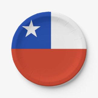 Prato De Papel Placa de papel patriótica com a bandeira do Chile