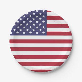 Prato De Papel Placa de papel patriótica com a bandeira dos EUA