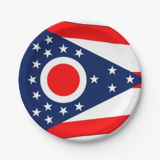 Prato De Papel Placa de papel patriótica com bandeira de Ohio