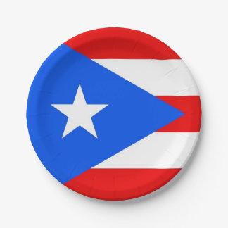 Prato De Papel Placa de papel patriótica com bandeira de Puerto