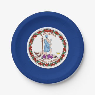 Prato De Papel Placa de papel patriótica com bandeira de Virgínia