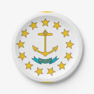 Prato De Papel Placa de papel patriótica com Rhode - bandeira da