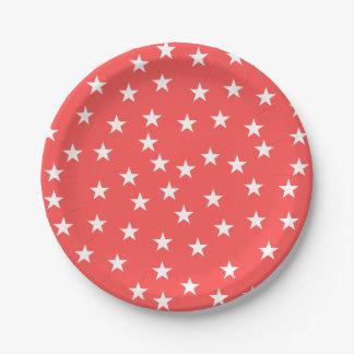 Prato De Papel Placa de papel vermelha e branca aleatória de