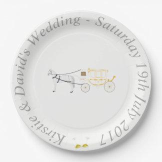 Prato De Papel Placa de papel Wedding com cavalo & carruagem