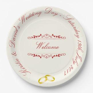 Prato De Papel Placa de papel Wedding com gráficos ornamentado