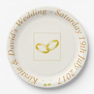 Prato De Papel Placa de papel Wedding com os anéis de ouro