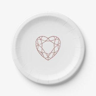 Prato De Papel Placa de papel wedding do coração cor-de-rosa