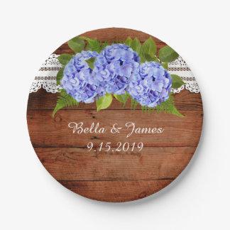 Prato De Papel Placa de papel Wedding do Hydrangea azul rústico