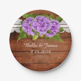 Prato De Papel Placa de papel Wedding do Hydrangea roxo rústico