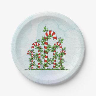 Prato De Papel Placa do Natal dos bastões e das videiras de doces