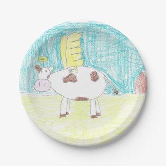 Prato De Papel Placa do partido do papel de arte do miúdo da vaca