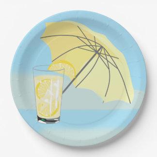 Prato De Papel Placa doce do partido da limonada da casa de praia