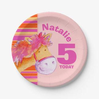 Prato De Papel Placa personalizada 5as meninas do aniversário da