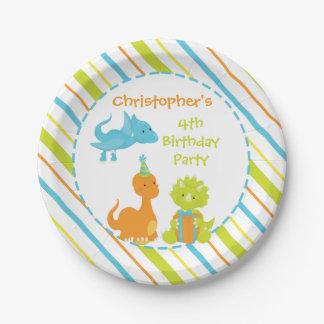 Prato De Papel Placa personalizada Dino da festa de aniversário