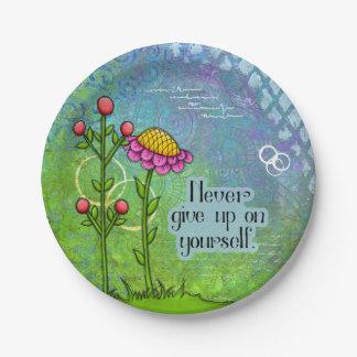 Prato De Papel Placa positiva adorável da flor do Doodle do