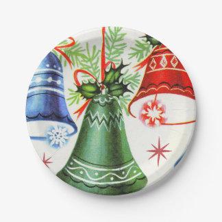 Prato De Papel Placa retro da festa natalícia dos sinos de Natal