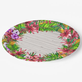 Prato De Papel Placa tropical floral bonito dos bens do partido