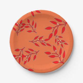 Prato De Papel Placas com bagas e folhas na laranja
