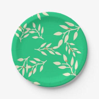 Prato De Papel Placas com bagas e folhas no verde