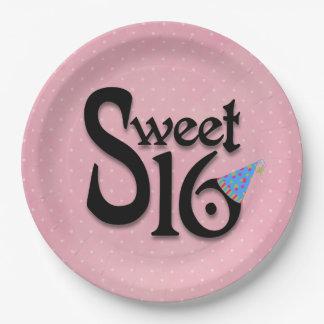 Prato De Papel Placas cor-de-rosa do partido do doce 16 das