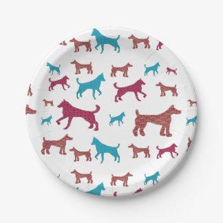 Prato De Papel Placas da silhueta do cão