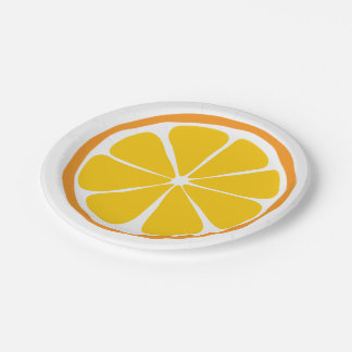 Prato De Papel Placas de papel alaranjadas do citrino do verão