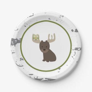 Prato De Papel Placas de papel animais da floresta