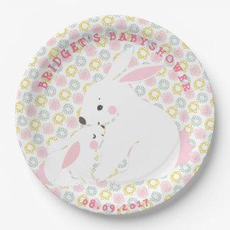 Prato De Papel Placas de papel bonitos do coelho da mãe & do bebé