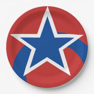 Prato De Papel Placas de papel brancas vermelhas de estrela azul